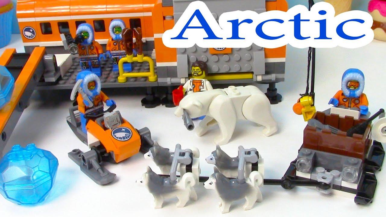 Arctic Base Camp Playset Lego City Snow Ice Crystals Polar Bear Husky Dogs  Sled Cookieswirlc  Youtube