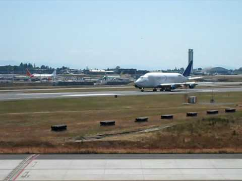 Boeing Dreamlifter aircraft coming in for a landing at Boeing's Everett Plant