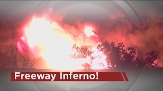 Freeway inferno erupts on I-75 this morning