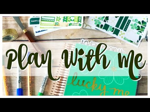 Plan With Me   St. Patrick's Day   White Space Planning   Erin Condren Hourly Life Planner