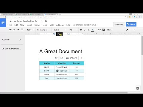 Embed A Spreadsheet From Google Sheets Into Google Docs