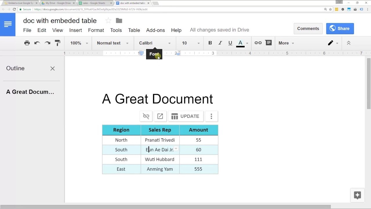 Embed A Spreadsheet From Google Sheets Into Google Docs Youtube