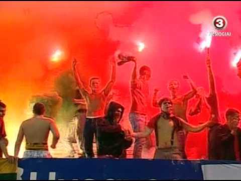 2010.08.24 Lithuania vs. Zalgiris Lithuanian ultras pyro show