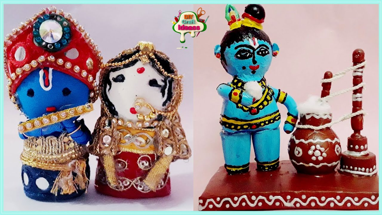 Best out of waste craft - diy crafts ideas 2 lord krishna dolls