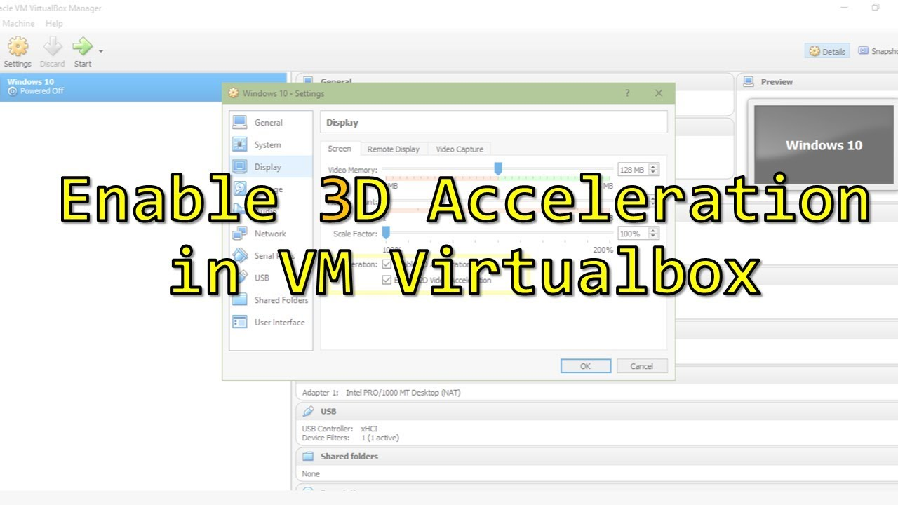 Enable 3D Acceleration in VM Virtualbox