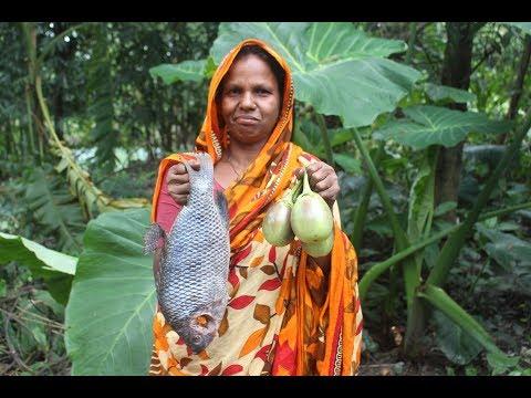 Village Food | Big Tilapia Fish Curry | Grandmother Recipes-139