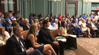 Community members plead their case regarding the Dreher High School zoning dispute to Columbia Ci...