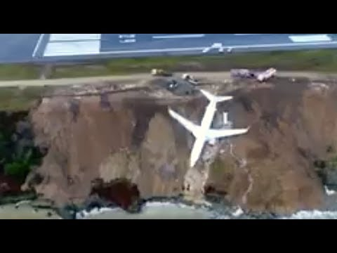 Large plane misses runway - Narrowly avoids plunge into Black Sea!