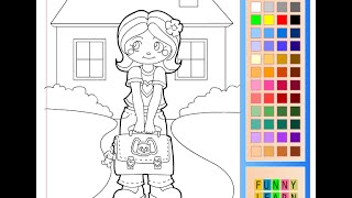 School Girl Coloring Pages For Kids - School Girl Coloring Pages