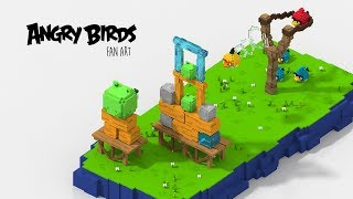 Angry Birds Voxel Art