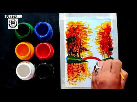 Easy and Simple Poster Colours Painting for Beginners / Abstract Painting Ideas