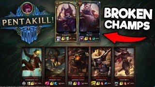 Challenger Xayah and Rakan Vs. [5 Silvers] INSANE GAME!!! (2 PENTA KILLS?!?!) NEW CHAMPS BUSTED