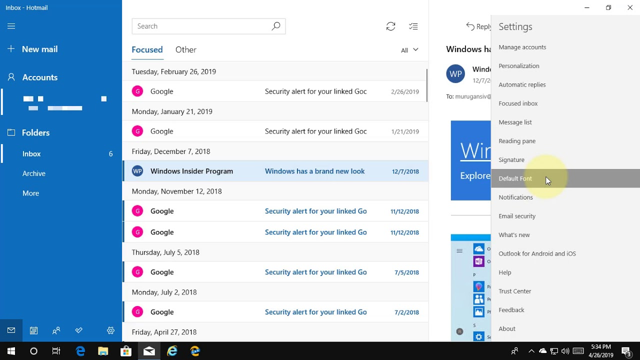 How to Change the Default Font for Mail App in Windows 10 [Tutorial]