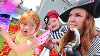 PiRATE vs FAiRY  Backyard Magic Battle!!  Niko & Mom make Floor is Lava for Adley's Hidden Gold ☠