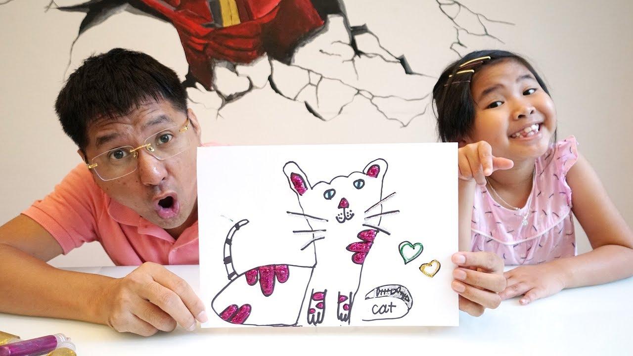 Bé Bún Hướng Dẫn Bố Vẽ Con Mèo Theo Cách Mới   Drawing Cat with Glitter