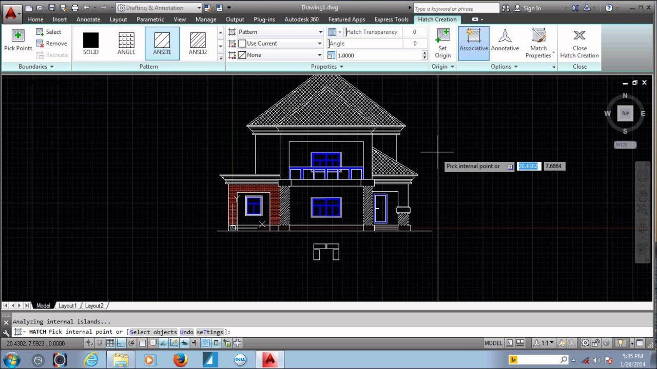 Front Elevation Autocad : Autocad tutorial house design elevation youtube