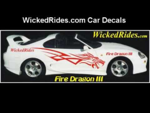 Car Decals Dragon Stripes Tribal Flames Checkered HERE YouTube - Flame stikers for car