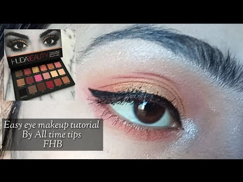 Easy Eye makeup tutorial with Huda Matte Eyeshadow at home By All time tips FHB Video