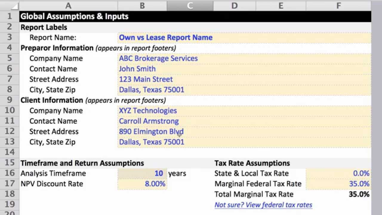 Lease vs Buy Analysis Excel Template - YouTube