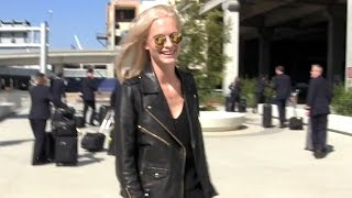 Poppy Delevingne Looking Cool In Leather Arriving In L.A. From London