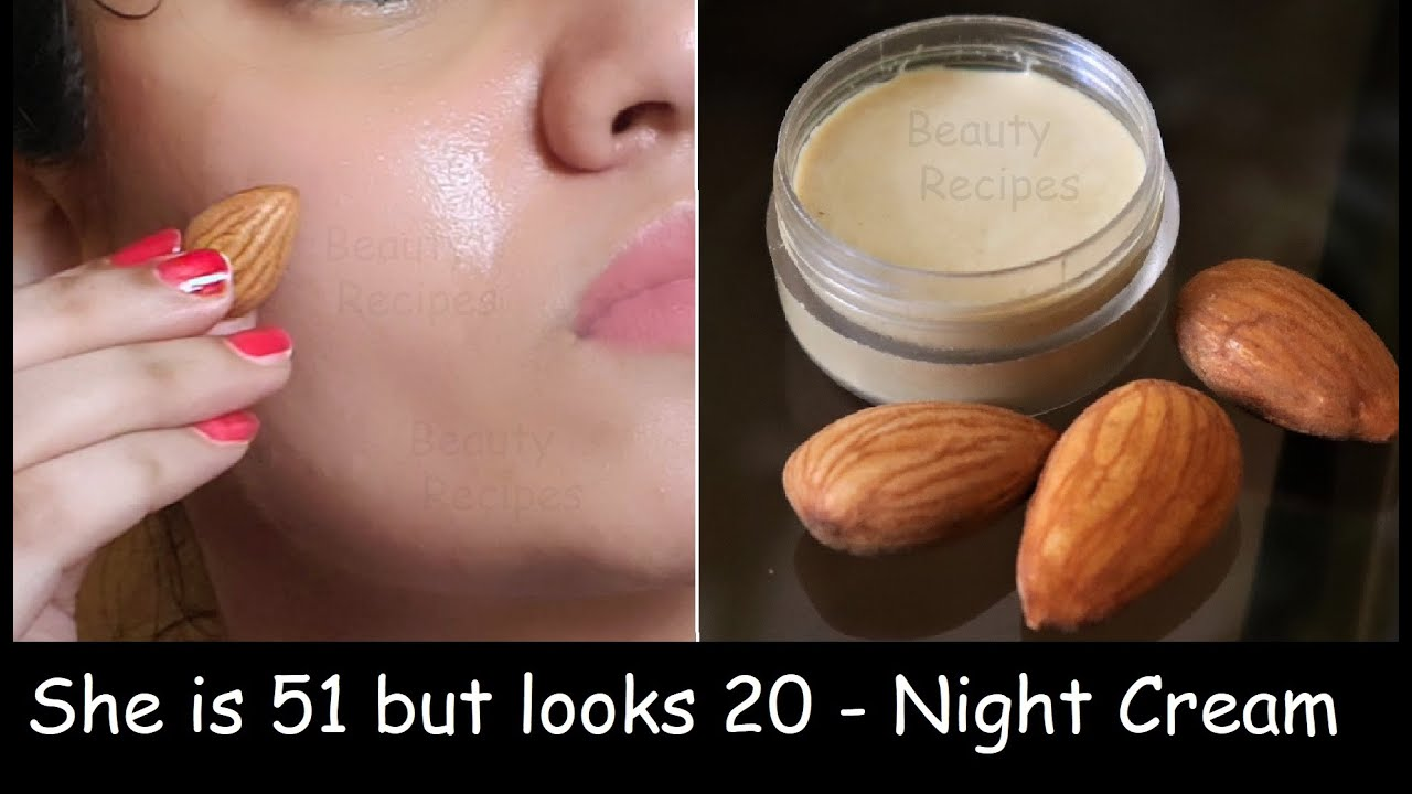 51 Year Old Looks 20 | Almond Night Cream & Night Face Pack - Remove Wrinkles & Tighten Sagging Skin