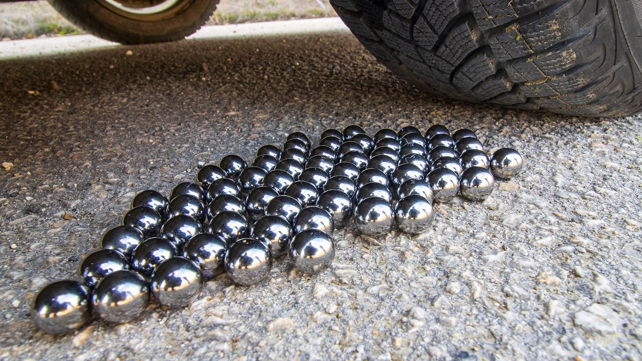 Crushing Crunchy Soft Thing by car! EXPERIMENT CAR vs METAL MARBLES