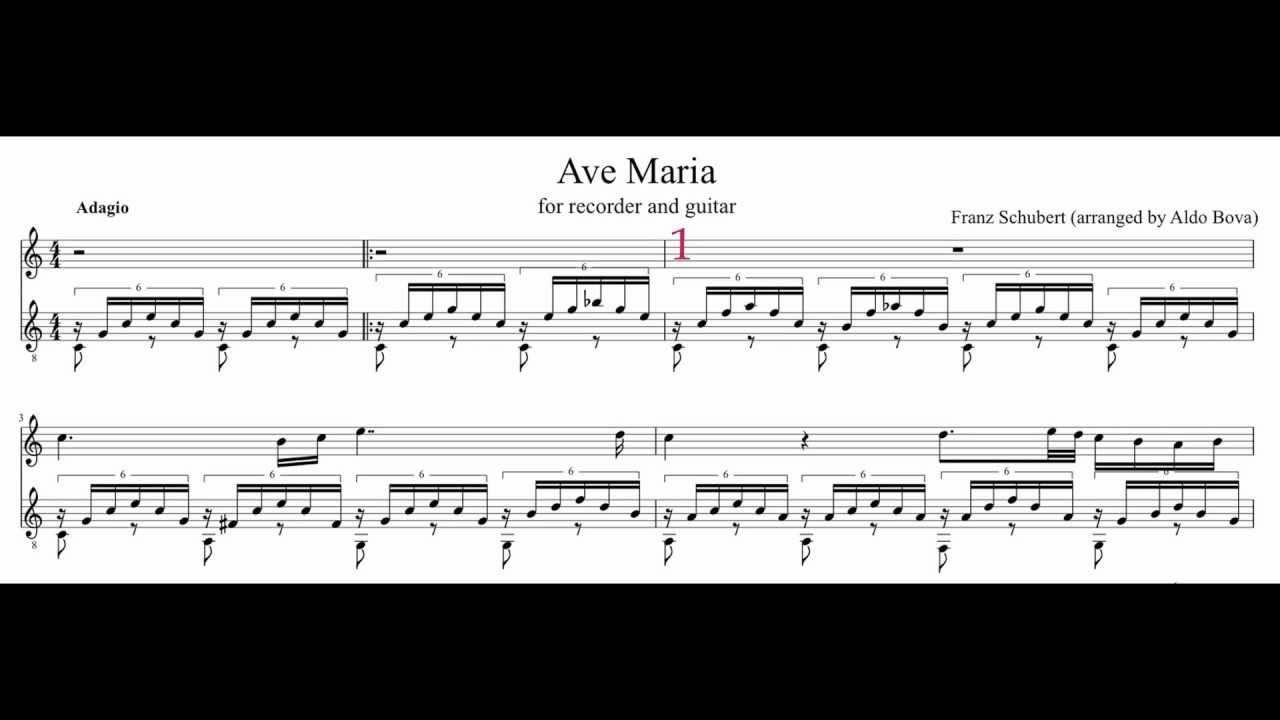 PWM F. Schubert, Ave Maria, accompaniment with guitar