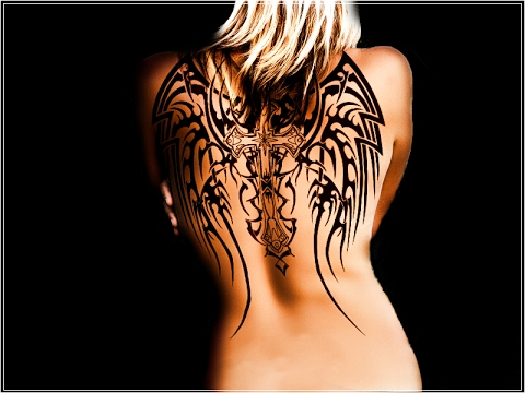 cross and angel wings tattoo designs