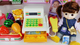 Baby Doll cash register and mart shopping toys play house story - ToyMong TV 토이몽
