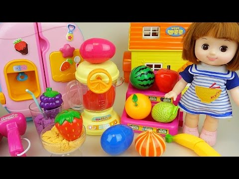 Thumbnail: Baby doll and fruit mixer Surprise eggs in refrigerator toys play