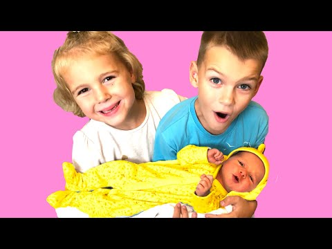 Vania, Mania and their Little SISTER NEW BORN ba Kids Pretend play with cleaning toys