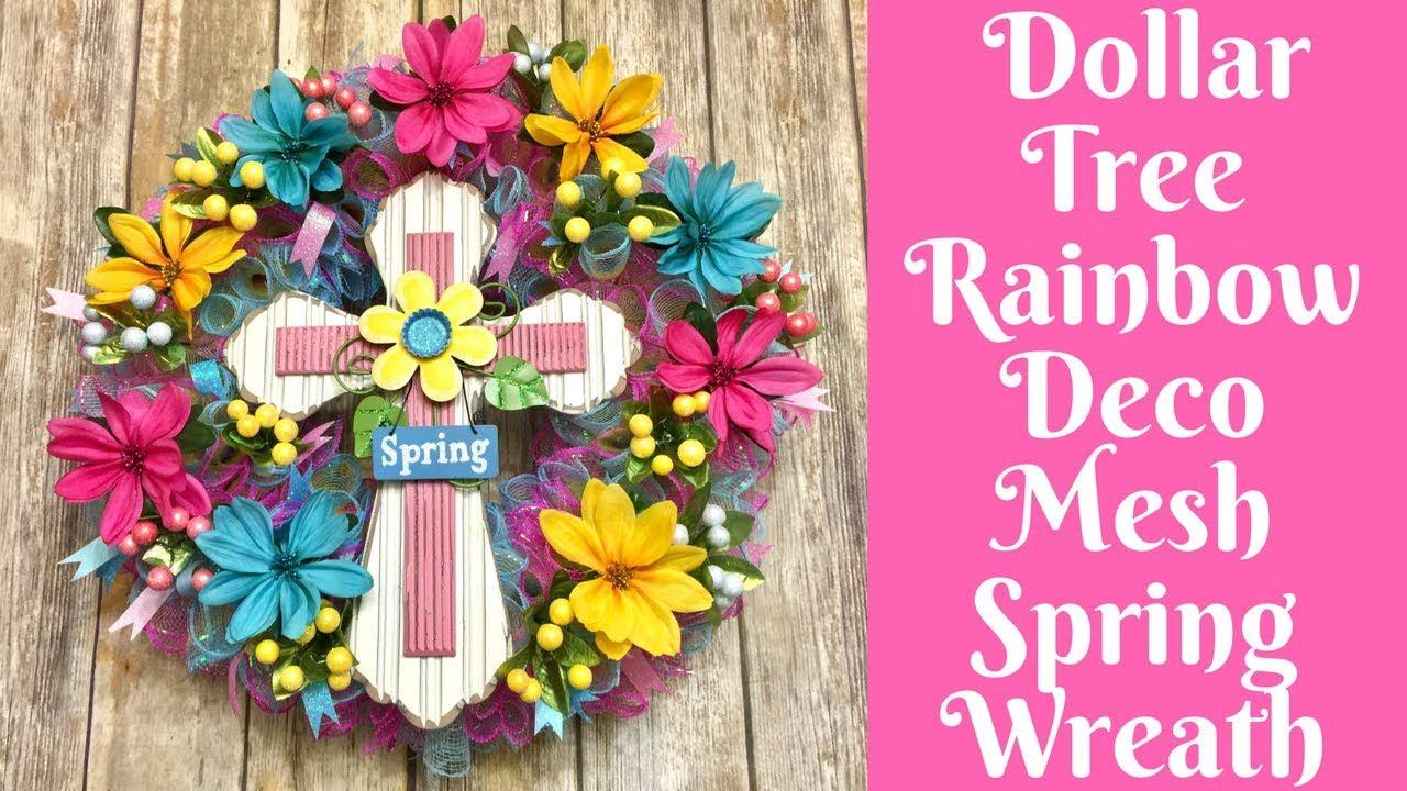 Wonderful Wreaths Dollar Tree Rainbow Deco Mesh Cross
