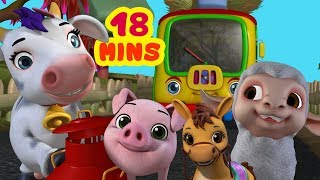 Wheels On The Bus Farm Animals Theme | Rhymes Collection for Kids | Infobells