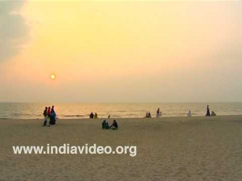 Sunset watchers at Kozhikode beach
