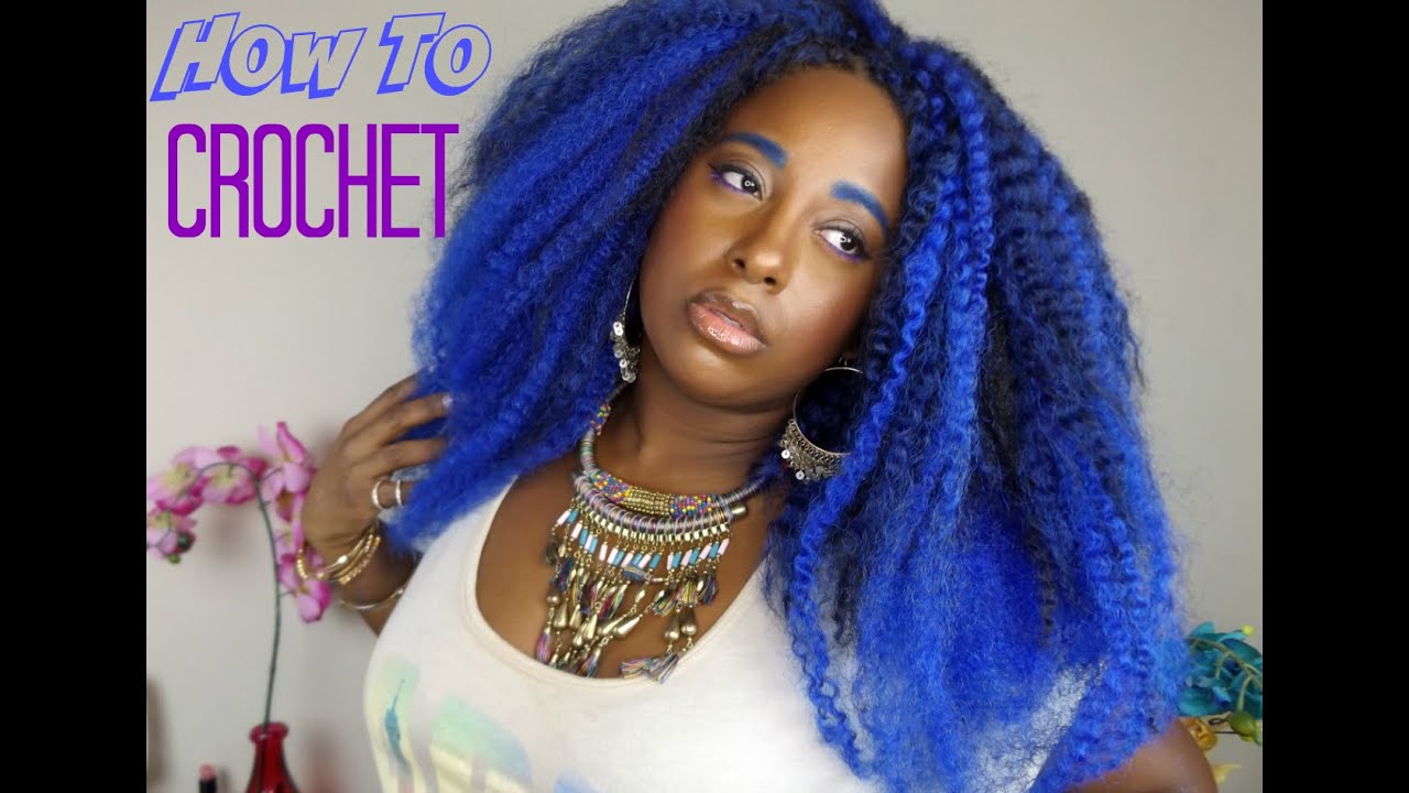 How To Install Crochet Braids Blue Ombre Marley Twist Natural Hair ...
