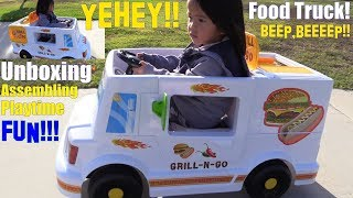Power Wheels Food Truck! Ride-On Toy Unboxing and Assembling. Kitchen Pretend Playtime