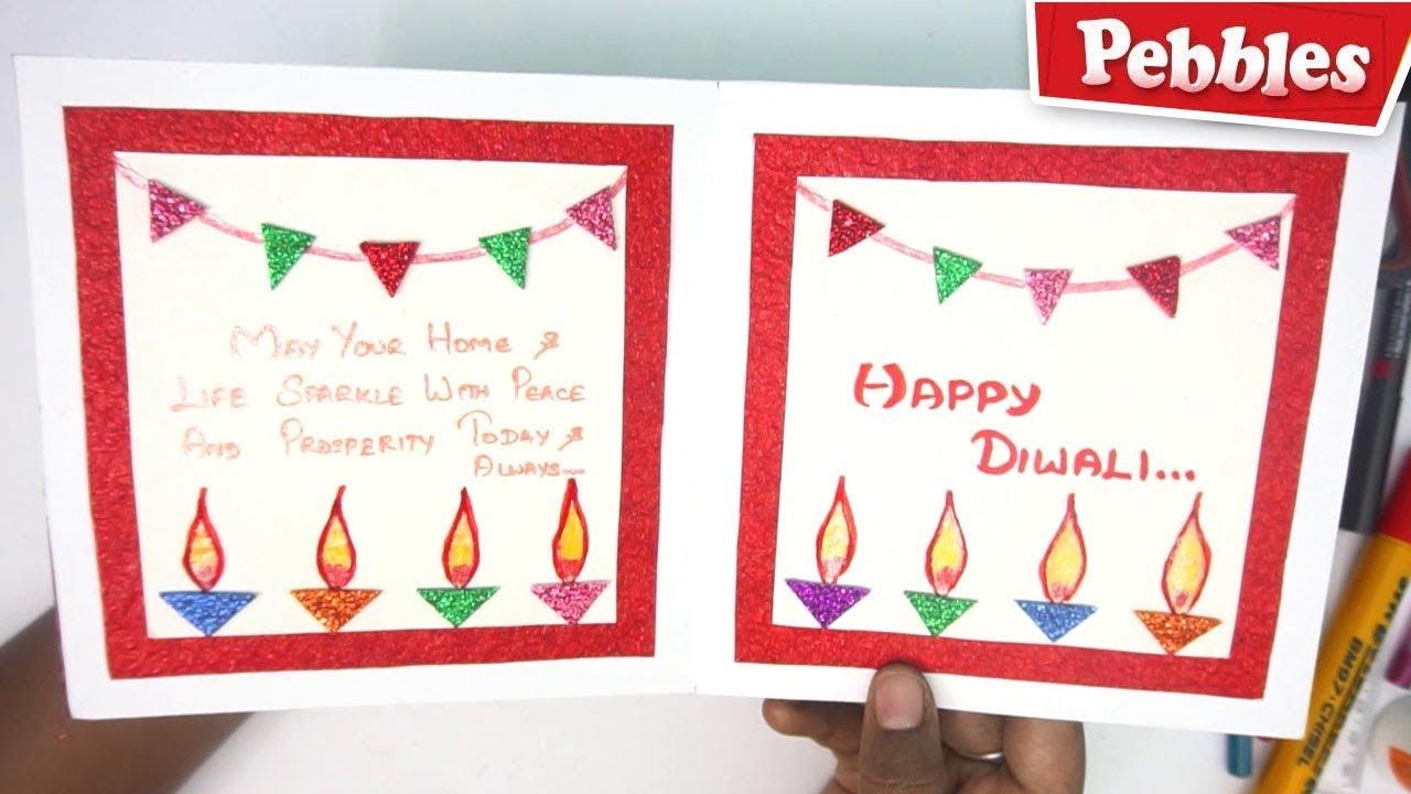 Diwali greeting card making for kids Handmade diwali card stepsEasy  Diwali card making Ideas 28