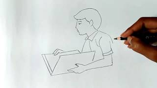 How to draw a boy studying
