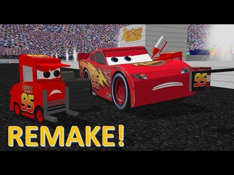 "REMAKE! Cars (2006) ""No Tires, Just Gas!"" Dinoco 400 Scene!"