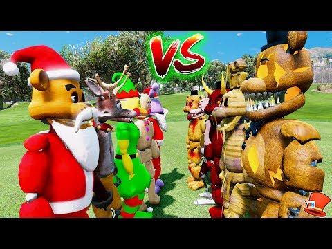 CHRISTMAS ANIMATRONICS vs HALLOWEEN ANIMATRONICS! (GTA 5 Mods FNAF RedHatter)