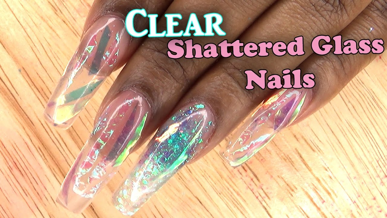 Extreme Shatter Glass Nails | Full set Acrylic Nails with Tips ...
