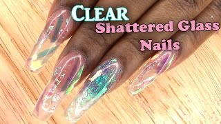 Acrylic Nails Tutorial | Clear Shattered Glass Nails | Encapsulated Nails | Full set | Nail Tips |