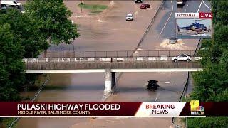 Pulaski Highway flooded in Middle River area