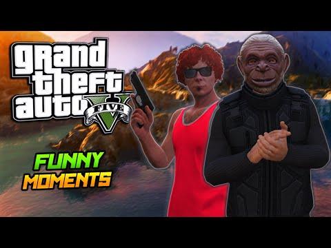 GTA 5 Online Funny Moments - Monkey Shark, Mort Goldman, Epic Fight!