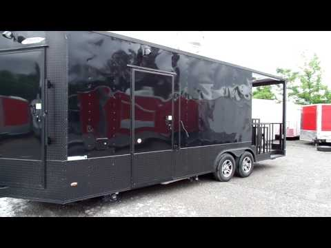 Concession Trailer 8.5' X 23'  Black BBQ Event Catering