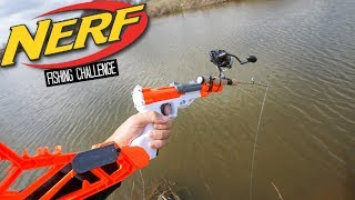NERF Blaster FISHING CHALLENGE!! (Surprising!)