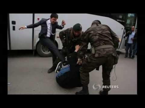 Turkish police disperse mine protest