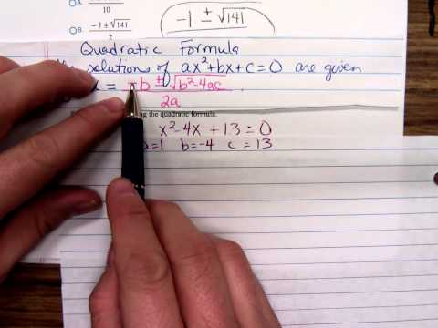 Math 1314 Solving Quadratic Equations, Square Root Method and Quadratic Formula