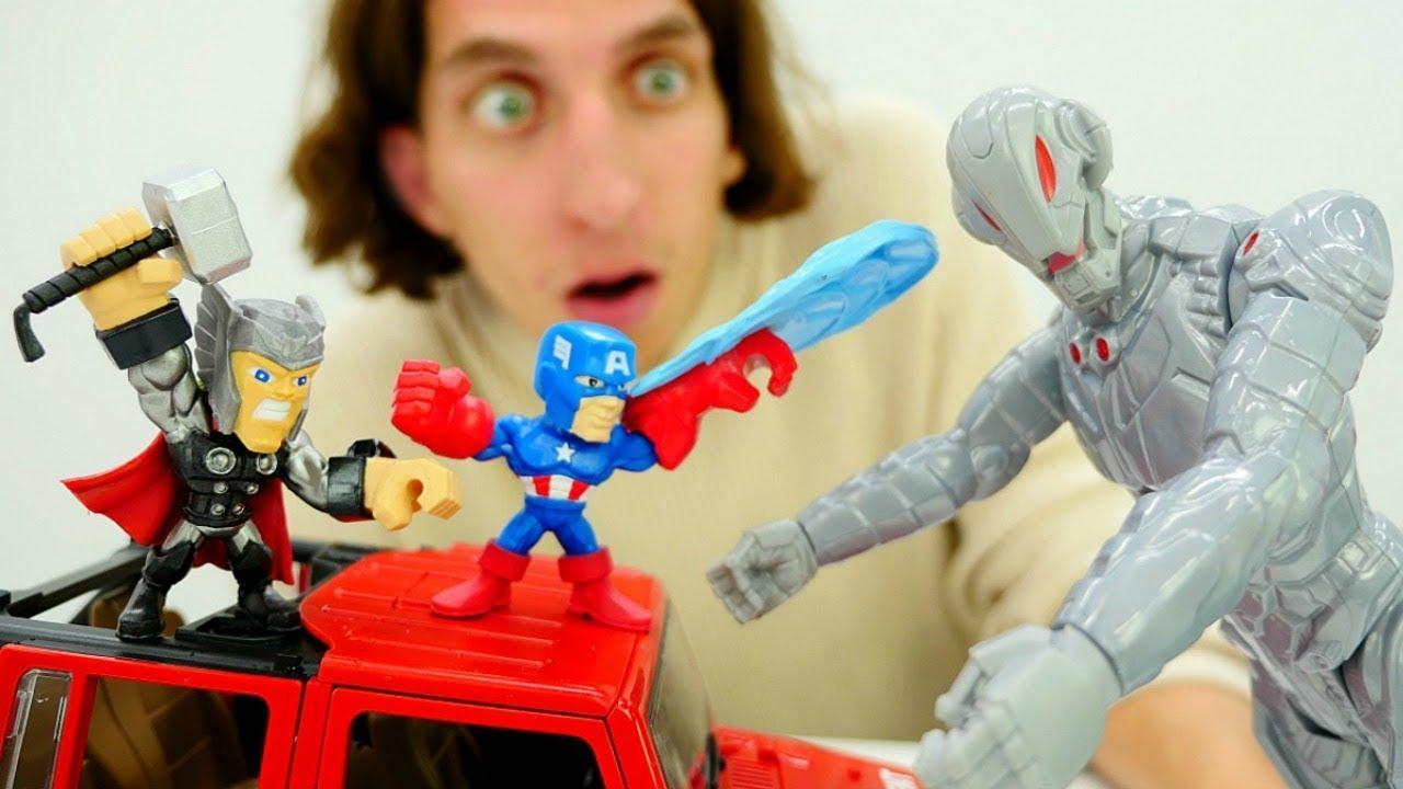 Видео для детей. Капитан Америка и Тор против Альтрона.