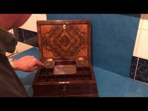 Antique English Victorian Walnut Jewellery Box
